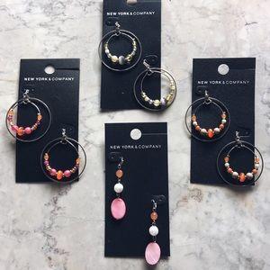 New York & Company LOT of colorful hoop earrings
